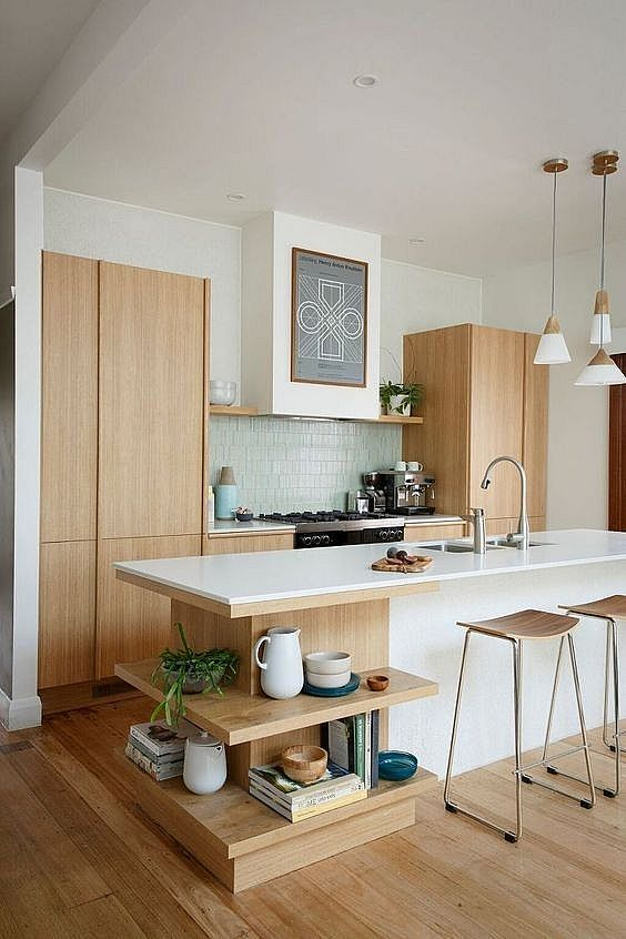 Wooden and White Kitchen Set