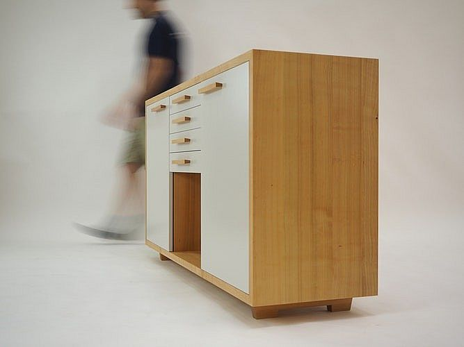 Wood and White Cabinet